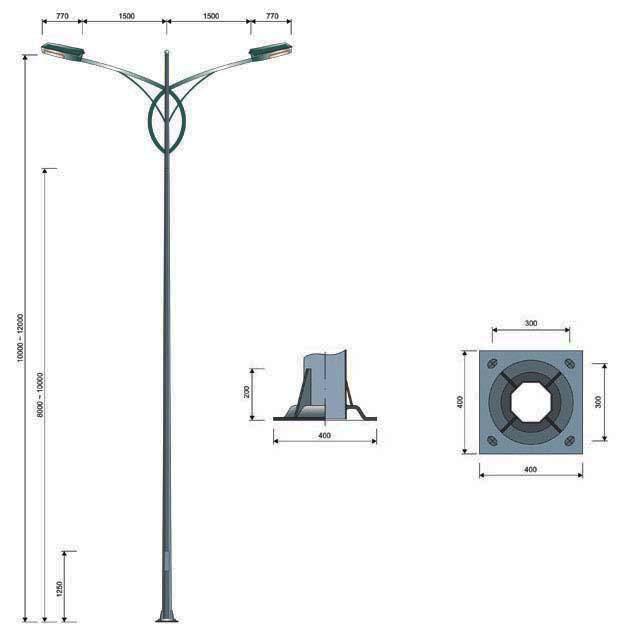 Cột đèn chiếu sáng bát giác MB01-K