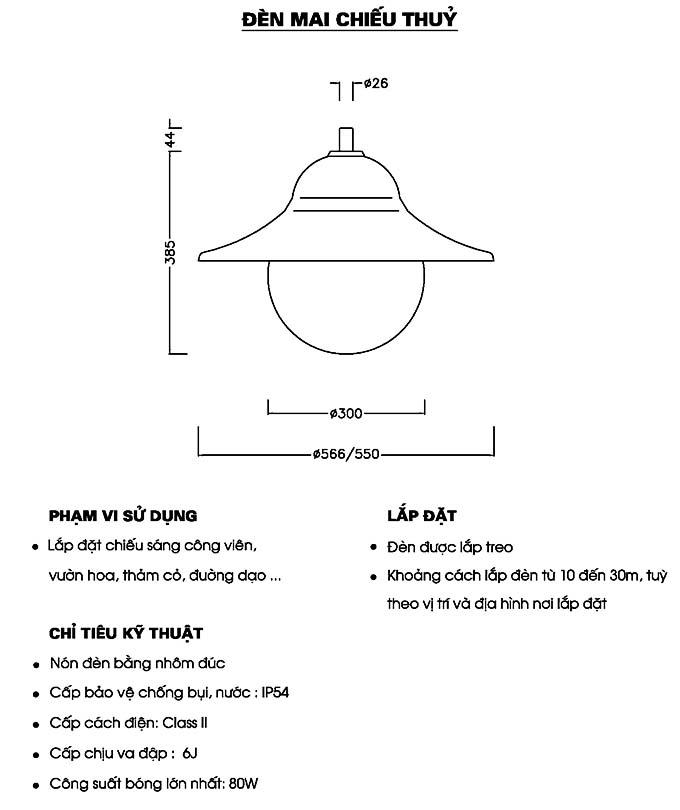 Đặc điểm của đèn mai chiếu thủy
