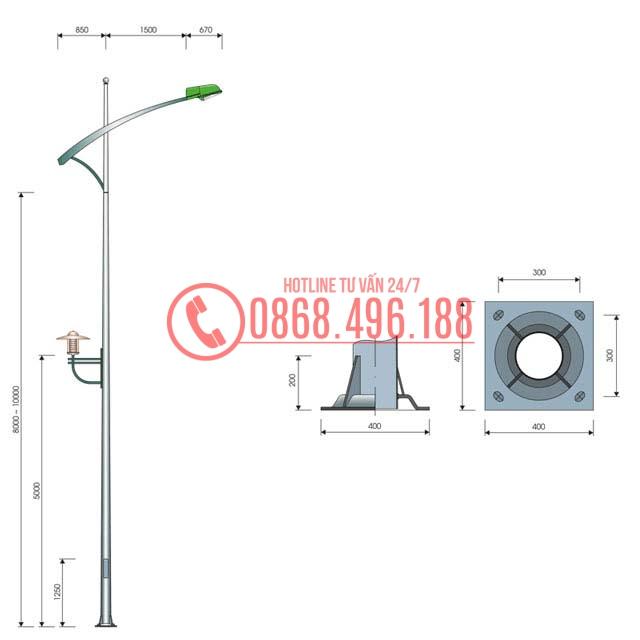 Cột Đèn Cao Áp Tròn Côn MB05-K