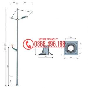 Cột đèn cao áp MB12-D cần đơn, cần kép