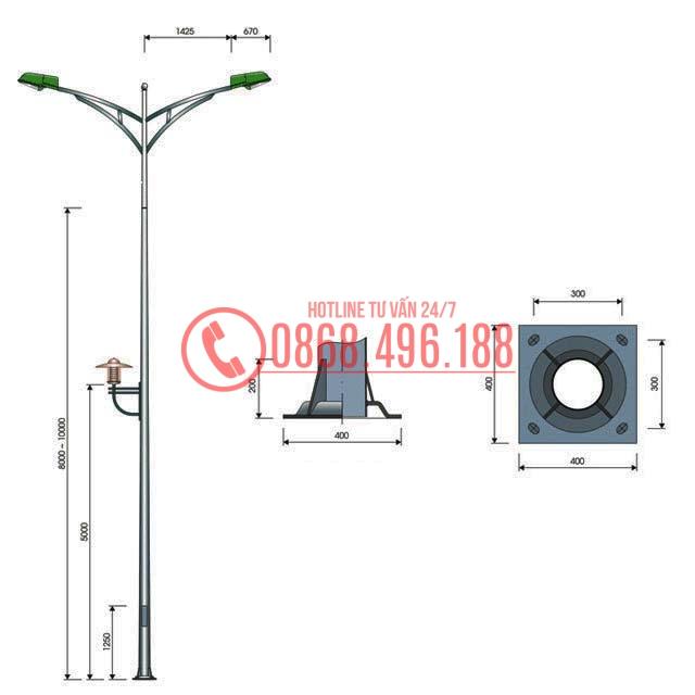 Cột đèn cao áp tròn côn MB03-D