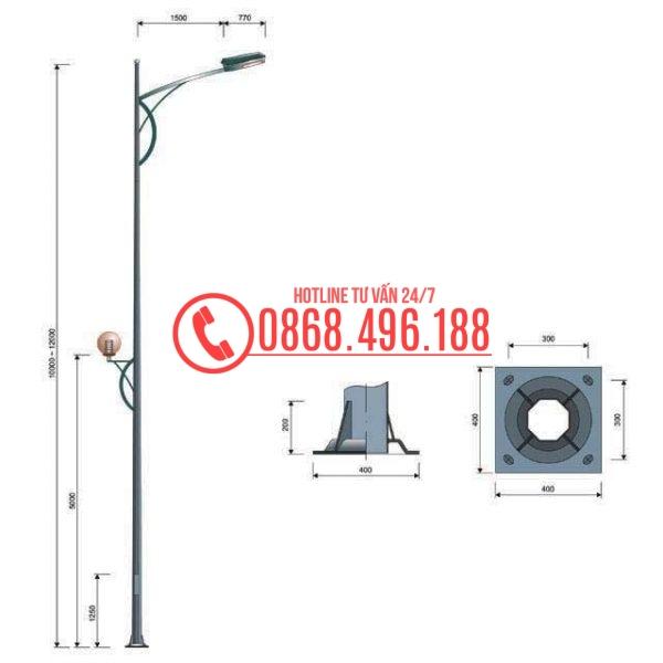 Cột đèn bát giác MB01-D