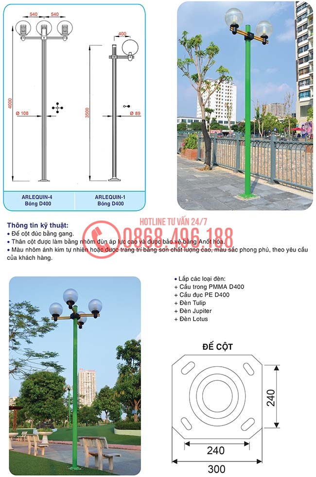 Cột đèn trang trí sân vườn Arlequin