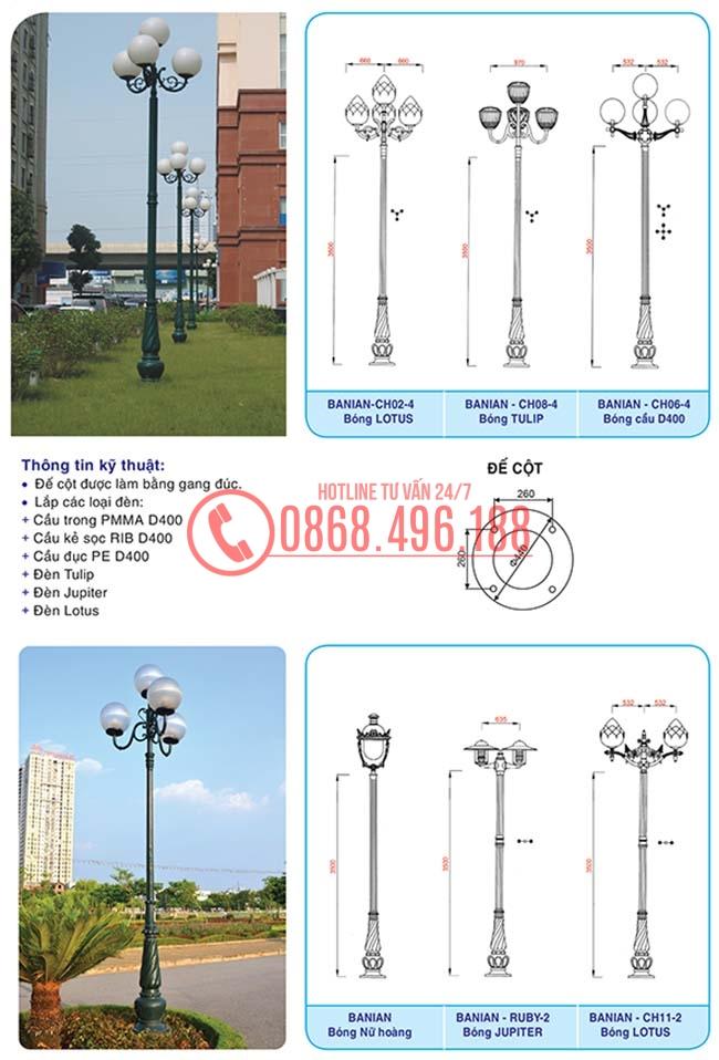 Thông số kỹ thuật cột sân vườn banian