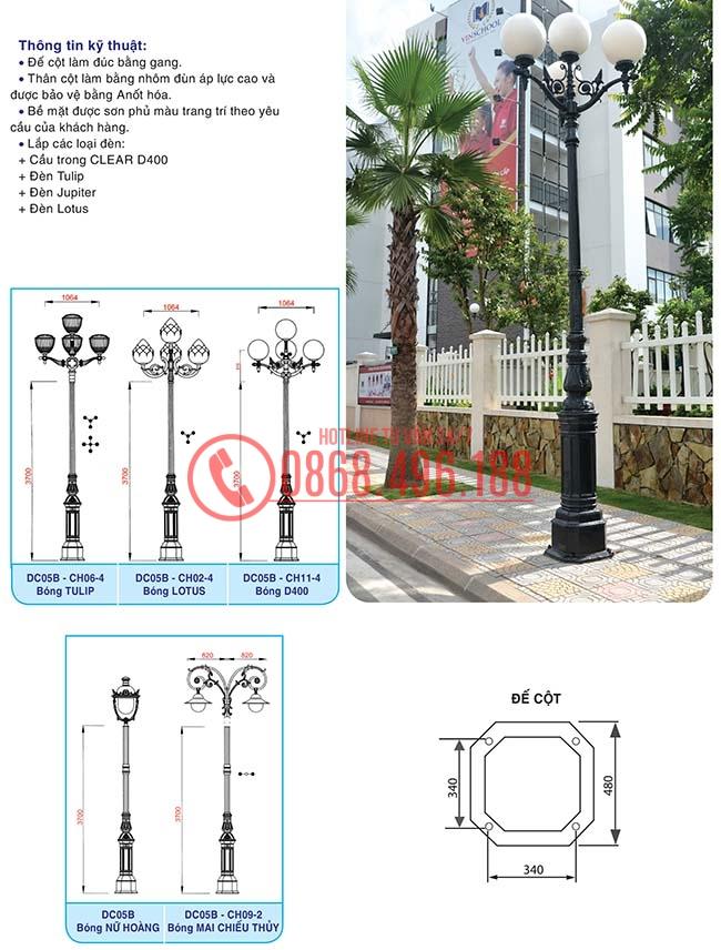 Cột đèn trang trí sân vườn đế gang đúc DC05B