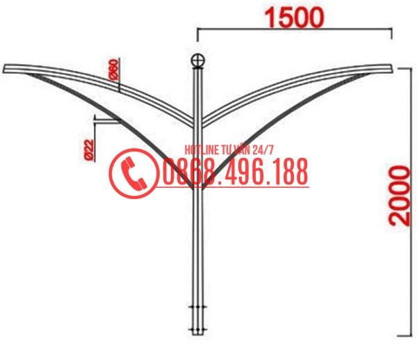 Cột thép bát giác MB07-D cần đơn, cần kép
