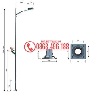 Cột đèn cao áp MB09-D cần đơn