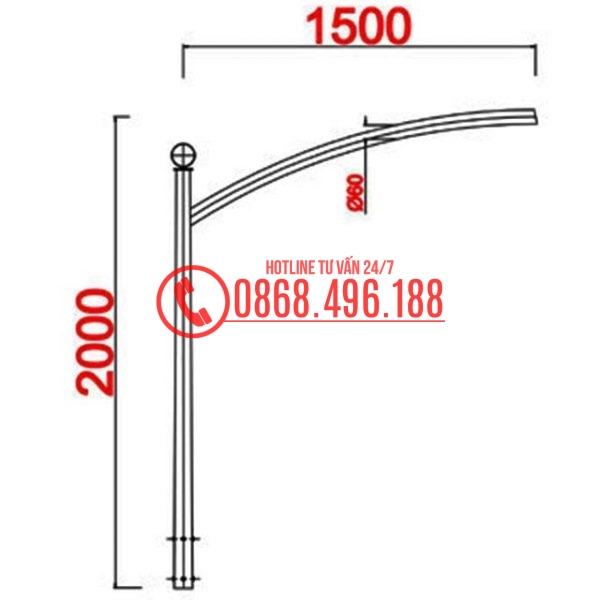 Cột đèn cao áp MB09 cần đơn