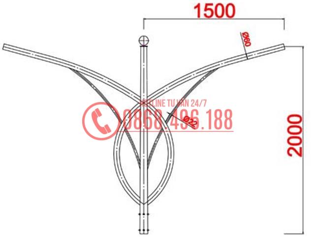 Cần đèn Cột thép bát giác MB02-K