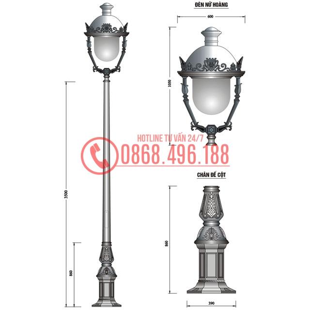 Cột đèn sân vườn lắp đèn sân vườn nữ hoàng