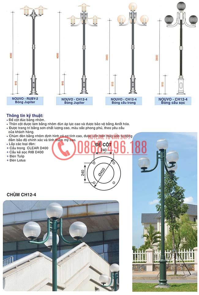 Thông số kỹ thuật của Cột đèn sân vườn Nouvo