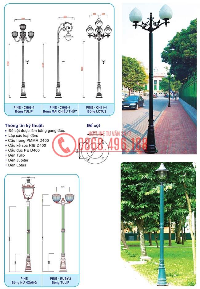 Thông số kỹ thuật cột sân vườn Pine
