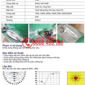 Thông số kỹ thuật Chóa đèn cao áp Zeta hay còn được gọi với cái tên chóa đèn Neptune