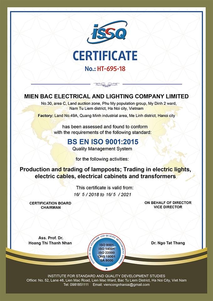 Chứng chỉ chứng nhận chất lượng của MB Lighting